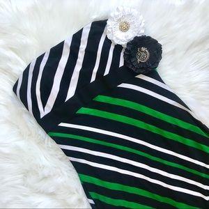 NWT Caché Strapless Green White Striped Dress